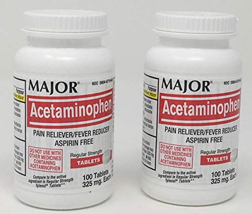 Acetaminophen 325mg Tablets (2 Bottles of 100 Tablets Each = Total of 200 Tablets) Pain Reliever/Fever Reducer - Aspirin Free