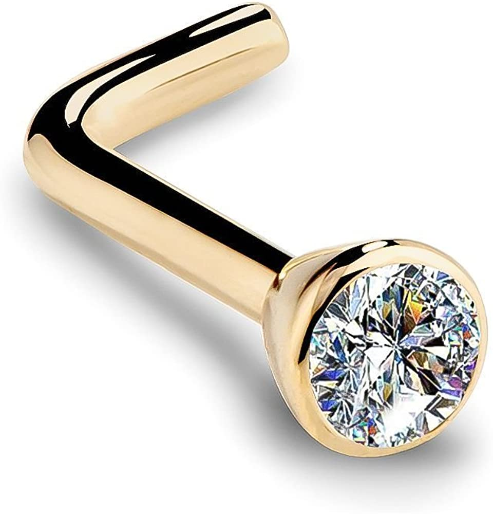 2021 new FreshTrends Long-awaited 14K Yellow Gold Diamond Nose Bezel with Ring Flush S