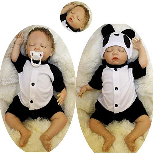 iCradle Reborn Baby Doll 55cm Realista Muñeca de Silicona Se ve Realista Bebe Tela Cuerpo Ojo Cerrado Enraizado Fibra Cabello Panda Traje Traje Regalos de cumpleaños