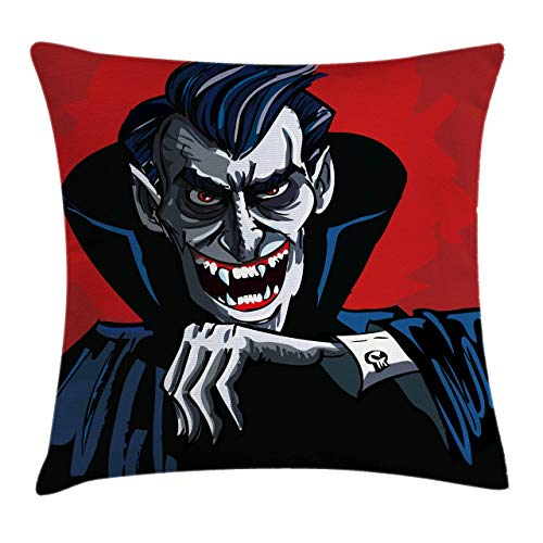 DJNGN Vampire Pillow Cover, Cartoon Cruel Old Man with Cape Sharp Teeth Evil Creepy Smile Halloween Theme,Polyester Throw Cushion Cover For Child, Blue Red Grey 45x45cm