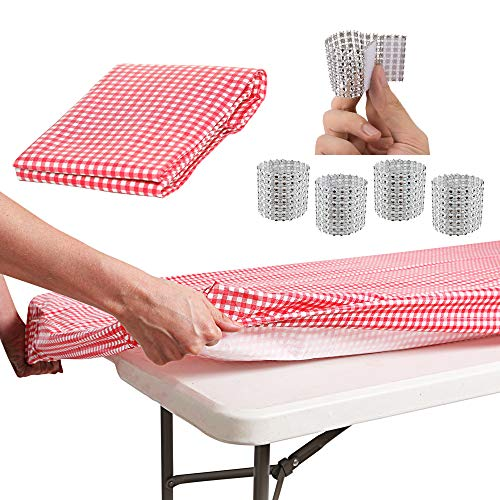 ATK ESSENTIAL PRODUCTS Waterproof Elastic Edged Plastic Fitted Table Cloth Fits Picnic Parties Outdoor Travel 4 ft Folding Trestle Banquet Picnic Table 30quot x 50quot RED Checkered