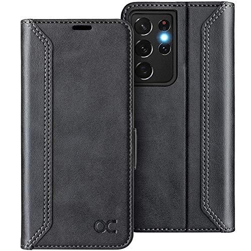 OCASE Retro Hülle Samsung Galaxy S21 Ultra Handyhülle Tasche PU Leder Flip Cover Brieftasche Etui RFID Schutzhülle Lederhülle Klapphülle Kompatibel für Galaxy S21 Ultra Schwarz 6,8 Zoll