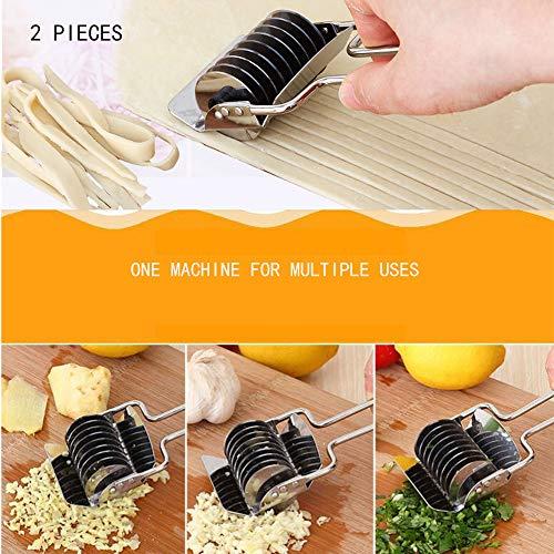 LUCKING 2X Pasta Maker Maschine für Küche und Restaurant, Knoblauchstampfer, Nudelpresse aus Edelstahl zur Herstellung von Spaghetti/Lasagne/Tagliatelle/Fettuccine