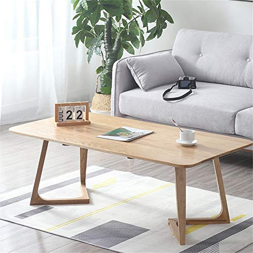 XJLJ Coffee Tables Solid Wood Coffee Tea Sofa Side Table Center Table For Living Room Sofa Table for Office Furniture (Color : Wood, Size : 130×70cm)