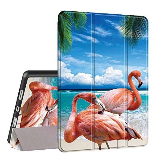 iPad Air 10.5 (3rd Gen) 2019/Pro 10.5 2017 Case, Rossy PU Leather Shock Trifold Stand Folio Smart Cover with Auto Wake/Sleep & Pencil Holder for Apple iPad Air 3rd Gen,Tropical Flamingo Beach