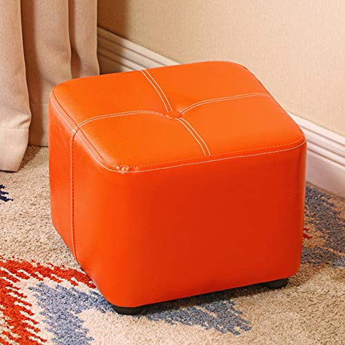 Accent Ottoman, PU Cube Footrest Stool with Silent Feets, Kids Stool Shoe Bench Small Ottoman Sofa Table, for Living Room Bedroom Kids Room, Blue