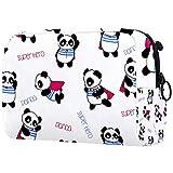 Bolsa de Maquillaje para Mujer, Bolsa de Almacenamiento de cosméticos Patrón de Panda de superhéroe Dibujado a Mano para Viajes, Organizadora de cosméticos