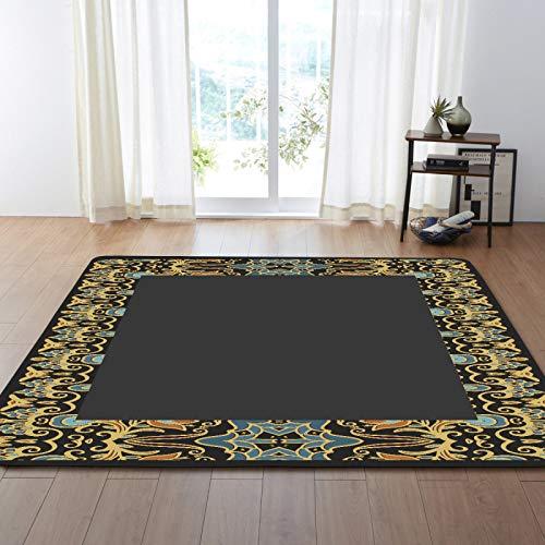 Alfombra de terciopelo suave estampado gris centro floral alfombra de borde para la sala de estar decoración pasillo pasillo antideslizante zona alfombra niños guardería jugar estera,120 * 160cm