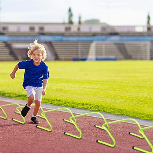 UISEBRT 6er-Set Speed/Agility Training Hürden Verstellbar 20/30 cm - Trainingshürden Fußball für Kinder, Beweglichkeits und Koordinationstraining, Grün
