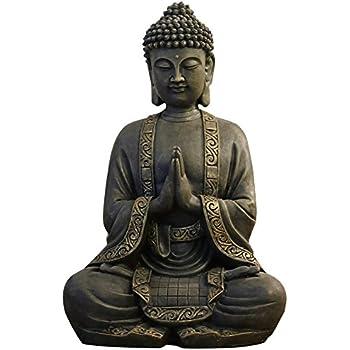 zen Light grande estatua Buda mediación, resina, Bonze, 37.5 x 15 x 24 cm: Amazon.es: Hogar