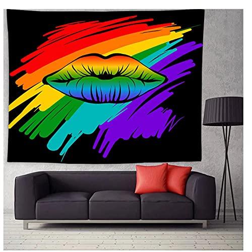 Tapiz by BD-Boombdl Boceto abstracto labios de Color decorativo arte de pared romántico revestimiento de paredes dormitorio tapiz Hippie decoración del hogar 59.05'x51.18'Inch(150x130 Cm)