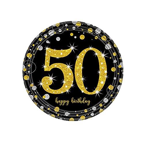 GKYI Platos de cumpleaños 30 40 50 años 17,78 cm disco redondo fiesta de cumpleaños decoración platos de cena para postre buffet pastel almuerzo suministros