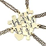FJ Always Together Never Apart Puzzle Best Friends BFF Sister Necklace 6piece