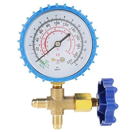 Manomètre de Couleur Bleu de Manomètre de Pression de Recharge de Réfrigérant de Climatisation Adapté pour R410A R22 R134A R404A