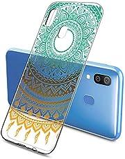 Suhctup Funda Compatible con Samsung Galaxy A30s Transparente,Silicona TPU Gel Carcasa Dibujos Flor Crystal Suave Bumper Ultra Delgado [Soporte Carga Inalámbrica] Antigolpes Case Cover,Lace 8
