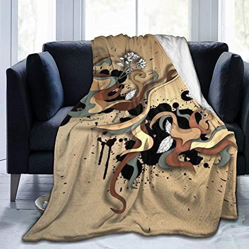 Super Soft Blanket Sleeps Comfortably, Used in Bedroom Sofa Chair Living Room (50x40cm) Flowers_Vector