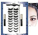 3D 10 pairs upgrade Magnetic Eyelashes and 2 tubes of Magnetic Eyeliner kit Waterproof false lashes reusable eyelashes and No glue needed Long Lasting magnetic lashes kit