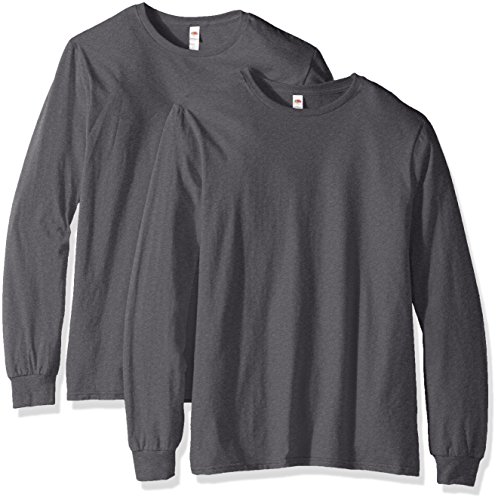 Fruit of the Loom Men's Lightweight Cotton Tees (Short & Long, Long Sleeve-2 Pack-Charcoal, Large