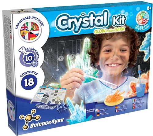 Science4you - Kristalle Selbst Zuchten +8 Jahre - Chemiekasten mit 8 Experimente fur Kinder ab 8 - Forscherset mit Kristalle Zuchten und Edelsteine fur kinder, Spiele fur Madchen, Jungen ab 8-12 Jahre