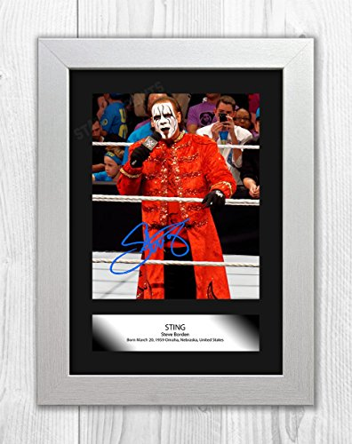 Engravia Digital Sting WWE Poster Signed Mounted Autograph Reproduction Photo A4 Print(White Frame)