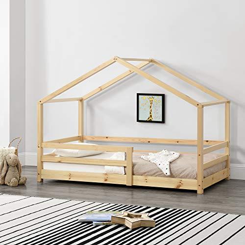 [en.casa] Lit denfant Maison avec Barreaux de Sécurité Pin Naturel 70 x 140 cm Bois Naturel