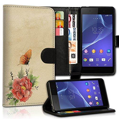 Book Style Wiko Wax Premium PU-Leder Tasche Flip Brieftasche Handy Hülle Kartenfächer mit Standfunktion für Wiko Wax - Design Flip MVC11