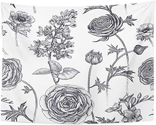 AdoDecor Flores de Primavera con diseño Floral, Plantas de jardín, Lila, Fresia, anémona, Tapiz Vintage Blanco y Negro, decoración del hogar, 150x200 CM