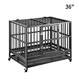 PUPZO Heavy Duty Dog Cage Crate Kennel Carbon Steel with Four Wheels...