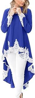 Dresses for Womens, FORUU Ladies Women Long Sleeve Casual O-Neck Pullover Irregular Hem Solid Lace Shirt Dress