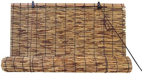 Estores de Bambú Cortina de Madera Natural | Persiana Enrollable para Ventanas (Bambú Oscuro, 0.90_x_200_cm)