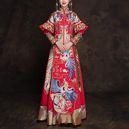 Qazwsxedc Für gesunde Alte chinesische gestickte Phoenix Brautkleid Traditionelle Cheongsam, Größe: XL (Simple) XY (Farbe : Floor-Length)