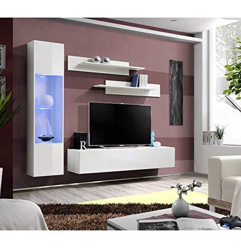 Banc TV avec LED - 4 éléments - Blanc