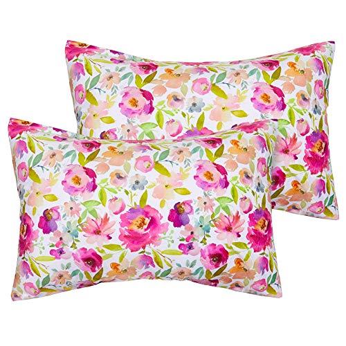 """Play Tailor Toddler Pillowcase 2 Pack 14x19 Ultra Soft Velvet Fleece Pillow Case Fits 13""""x 18"""" 14""""x 19"""" Toddler Pillow, No Insert, Flower"""