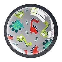 引き出しハンドルは、ホームキッチンドレッサーワードローブかわいい漫画の恐竜のための丸いクリスタルガラスを引っ張る