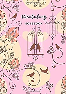 Vocabulary Notebook: B6 Notebook 2 Columns Small | A-Z Alphabetical Tabs Printed | Shadow Bird Cage Floral Design Pink
