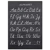 Frechdax® ABC Poster Kinderzimmer Alphabet Lernposter DIN A2 Deutsch 42cm x 59,4cm (Tafel schwarz)
