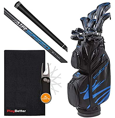 Cobra 2020 Men's F-MAX Airspeed Complete Golf Set PlayBetter Bundle with Extra Large Golf Caddy Towel & Cobra/PlayBetter Pitchfix Divot Tool (Right, Steel, Regular)