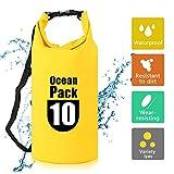 ASANMU Dry Bag, wasserdichte Tasche Wasserdichter Packsack Wasserdicht mit Tragegurt Leicht Faltbar Wasserfester Rucksack für Camping, Fischen, Rafting, Schwimmen, Bergsteigen, Snowboarden (Gelb, 5L)