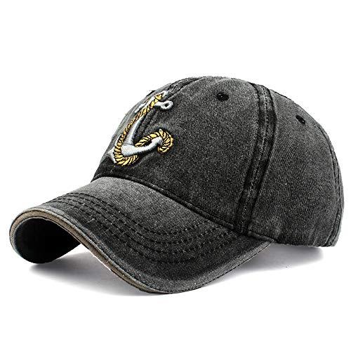 Vinteen Hüte Cowboy Double Layer Waschlappen Baseballmütze Anker Stickerei Ente Zunge Mütze Schatten Sonnenhut Weiblich Vier Jahreszeiten Mützen (Color : Black)