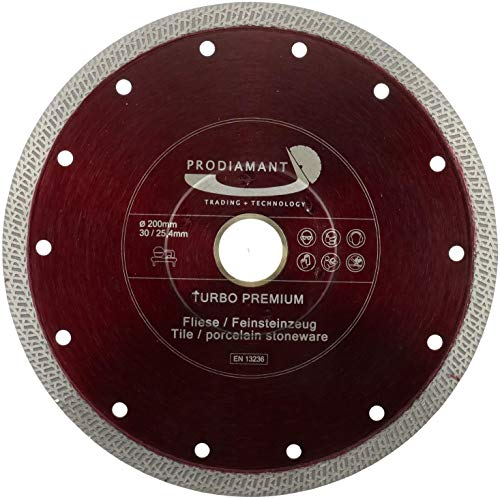 PRODIAMANT Disco de corte de diamante para azulejos (200 mm x 30 mm, con anillo, 25,4 mm, para máquinas de mesa húmedas)