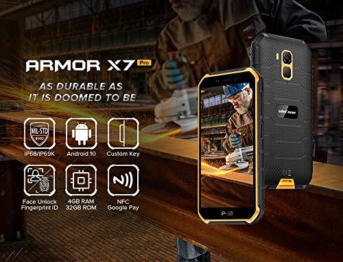 Ulefone Armor X7 Pro Téléphone Incassable(2020), Android 10 Smartphone Débloqué Antichoc Étanche IP68, Quad-Core 4Go+32Go, Photographie sous-Marine 13 MP, Batterie 4000 mAh, NFC/GPS/Double SIM Noir