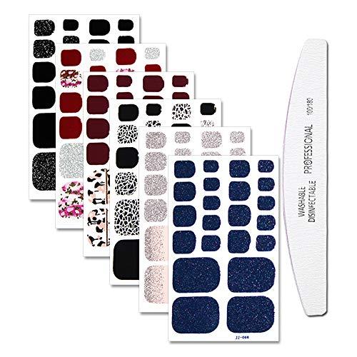 WOKOTO 6 Sheets Mermaid Design Toenail Art Polish Stickers Strips With 1Pc Nail File Adhesive Nail Wraps Decals Manicure Kit