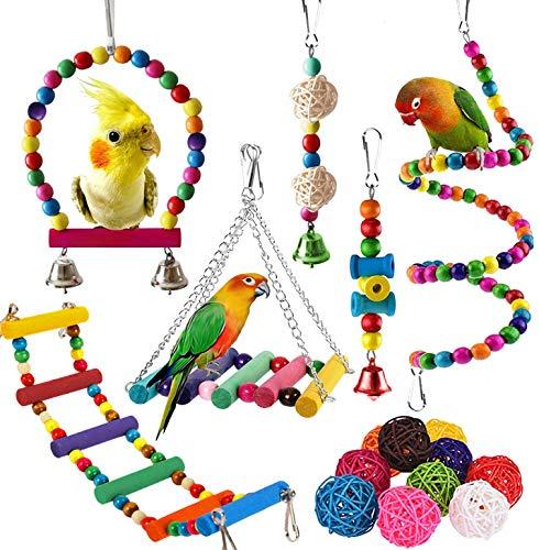 SUSYEE 16 Pcs Bird Toys Parrot Swin…