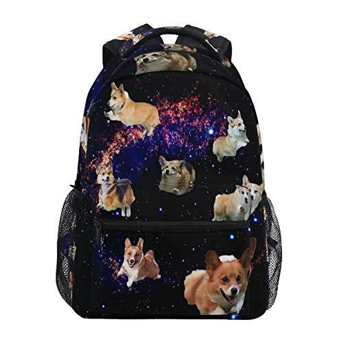 Galaxy Welsh Corgis Backpack Cute Space Puppies Waterproof College Bag Personalized Laptop Bag Travel Zipper Bookbag Casual Hiking Shoulder Daypack for Men Women Teens