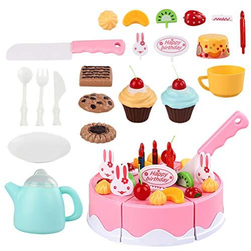 YeahiBaby Découpage de Jouets de gâteau d'anniversaire définit Happy Birthday Party Gâteau de découpage de Jouets pour bébé Fille (Rose, 54 pièces)