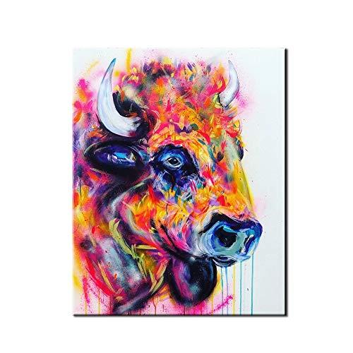 CYISHUB Cartoon Tirantes Bear Patrón,Color, Diseño Abstracto Toreo Moderno Arte Pintura Mural...
