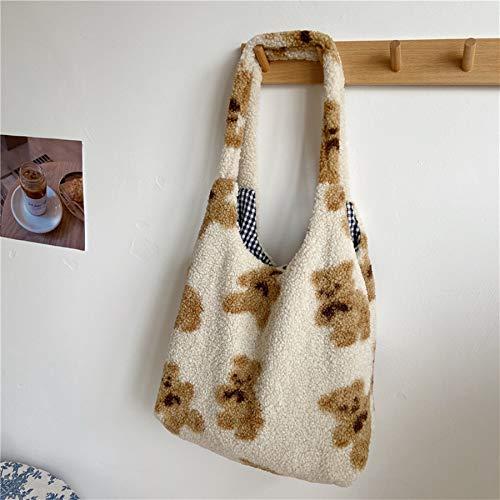 canvas bag,tote bags,shoulder bags,hippy bags,shopper bag,commute,Women Fabric Shoulder Tote Bag Canvas Fluffy Bear Handbags Large Capacity Soft Shopping Bags Girls Cute School Bag