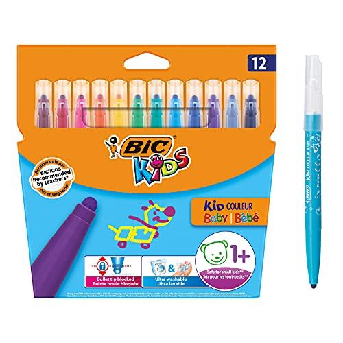 BIC Kids 902080 Filzstifte Kid Couleur Baby, zum Malen in 12 auswaschbaren Farben, mit stabiler Spitze, im Karton Etui, ab 1 Jahr