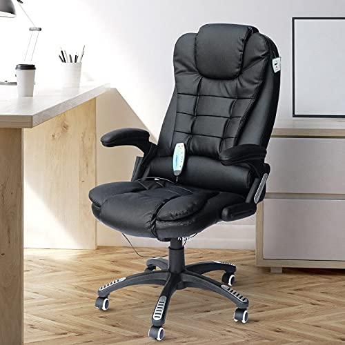Silla de computadora de Oficina Masaje Calor Cuero Ruedas reclinables Control Remoto Giratorio (Color: Negro)