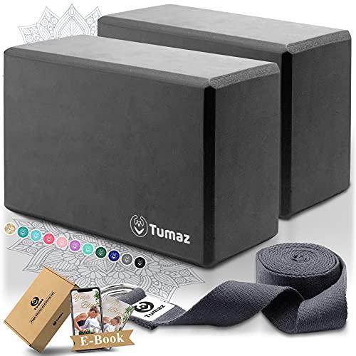 Tumaz Yoga Blocks Set of 2 with Premium Yoga Strap, High Density Yoga Bricks to Improve...